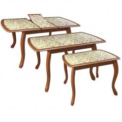 Стол раздвижной М51 Альба со стеклянным вкладышем