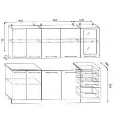КУХНЯ корпус 1,8 м без фасадов(без дверей)